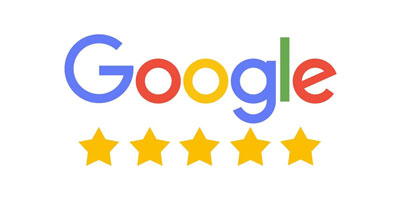 Google logo with 5 stars underneath